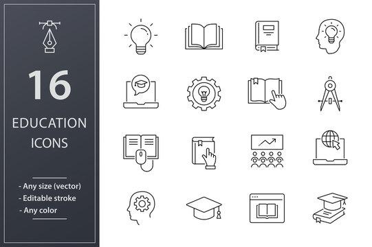 Education line icons set. Black vector illustration. Editable stroke.