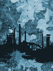 Steelworks silhouette on grunge blue background. Illustration of steelworks black silhouette on grunge background of torn fragmentes of posters.