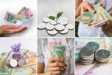 Collage from different pictures of Arab dirhams