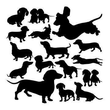 Dachshund  dog animal silhouettes. Good use for symbol, logo,  web icon, mascot, sign, or any design you want.