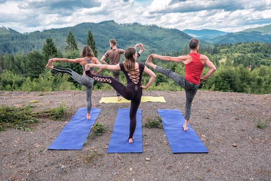yoga practice on the open air