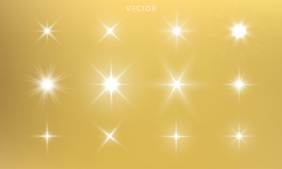 Star shine, golden light glow sparks, vector bright gold sparkles with lens flare effect. Isolated sun flash and starlight shiny rays
