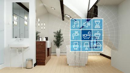 Badezimmer mit Smart Home Technologie Interface Wall mural