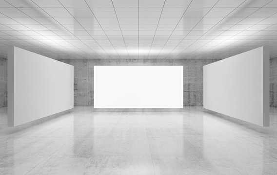 Abstract empty interior, three white posters