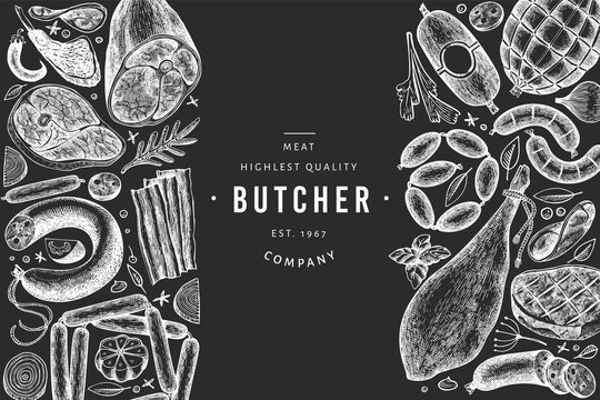 Vintage vector meat products design template. Hand drawn ham, sausages, jamon, spices and herbs. Raw food ingredients. Retro illustration on chalk board. Can be use for label, restaurant menu.