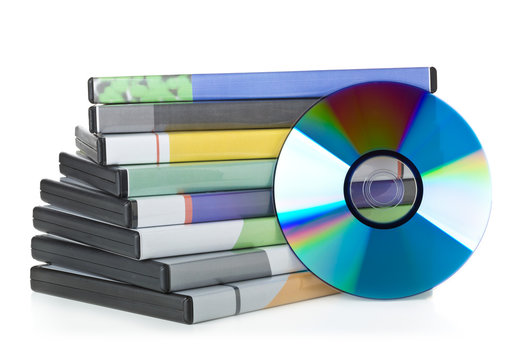 DVD, CD-ROM or Blu-Ray disc with stacked boxes for movies, audio or software on white