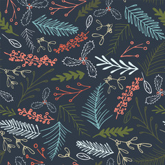 Vector winter foliage seamless pattern. Elegant retro doodle style holiday season print background design.