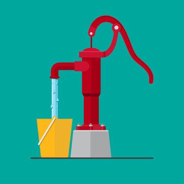 Hand pump ground water vector flat design.