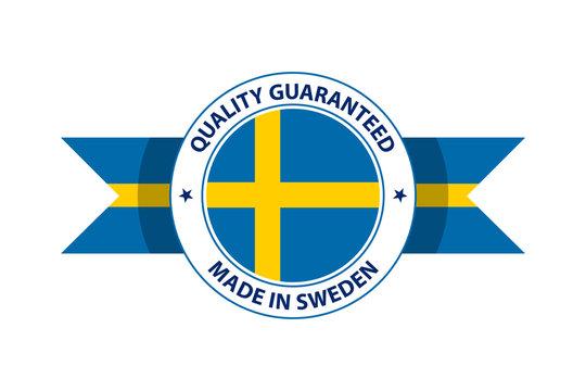 Made in Sweden quality stamp. Vector illustration