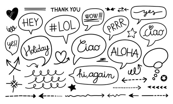 Set of hand drawn sketch Speach bubbles. Vector illustration