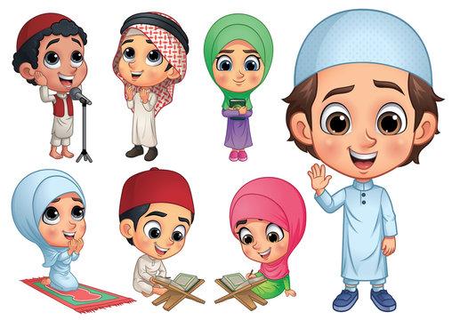 Muslim Children Collection, Vector EPS 10
