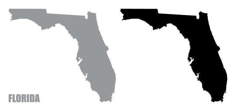 Florida silhouette maps