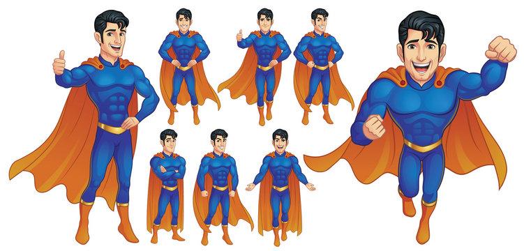 Superhero Mascot Character in nine poses, Vector EPS