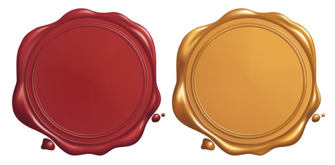 Red and Golden Wax Seal, Vector EPS 10