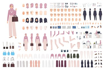 Young elegant Arab woman in hijab DIY set or constructor kit. Bundle of body parts, postures, stylish muslim clothes. Female cartoon character. Front, side, back views. Flat vector illustration.