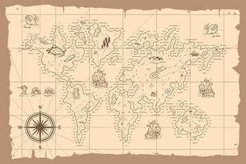 Vintage world map vector cartoon hand drawn illustration.