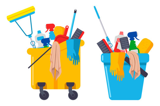 Cleaning supplies and equipments in bucket vector cartoon set isolated on a white background.