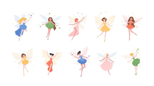 Bundle of funny gorgeous fairies in different dresses isolated on white background. Set of mythological or folkloric winged magical creatures, flying fairytale characters. Flat vector illustration.