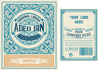 Vintage Gin label. Vector layered