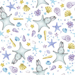 Cute seamless pattern with watercolor rabbits.
