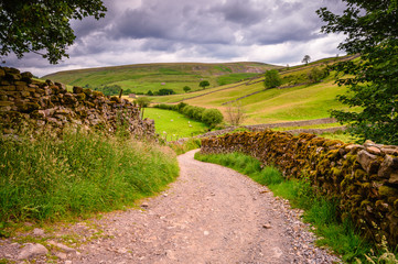 Bridleway in Upper Swaledale, one of the most northerly dales in the Yorkshire Dales National Park, famous for its wildflower meadows, field barns and dry stone walls