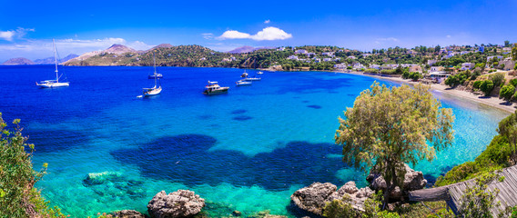 Best of Greece series - beautiful Leros island with clear turquoise sea. Dodecanese