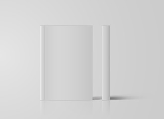 Realistic White Book Mock Up Template Background. Blank Cover Of Magazine. Vector Illustration.