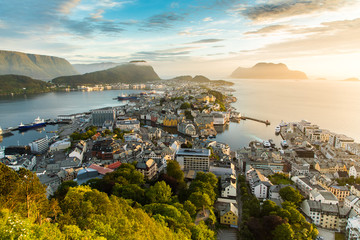 Wall Murals Northern Europe Cityscape of Alesund city at sunset, Norway, Beautiful sunset landscape.