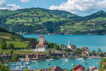 Lake Thun with townscape of Spiez