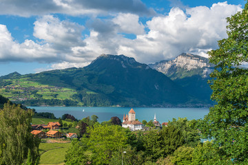 Lake Thun with Spiez castle in Spiez