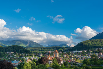 Townscape with Spiez Castle in Spiez