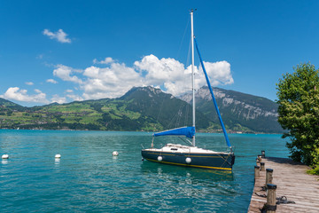 Sailing boat at the jetty at Lake Thun in Spiez