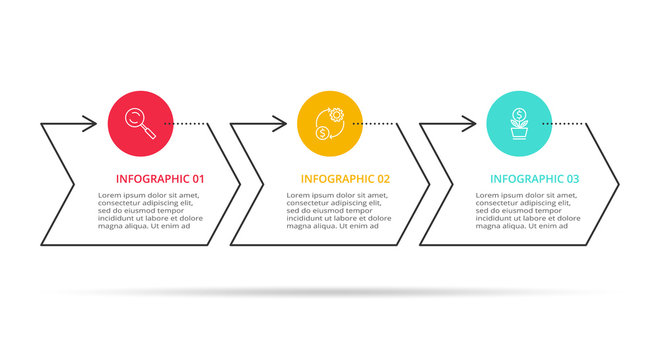 Thin line element for infographic. Template for diagram, graph, presentation and chart. Concept with 3 options