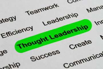 Thought Leadership - Business Buzzwords, printed on white paper and highlighted