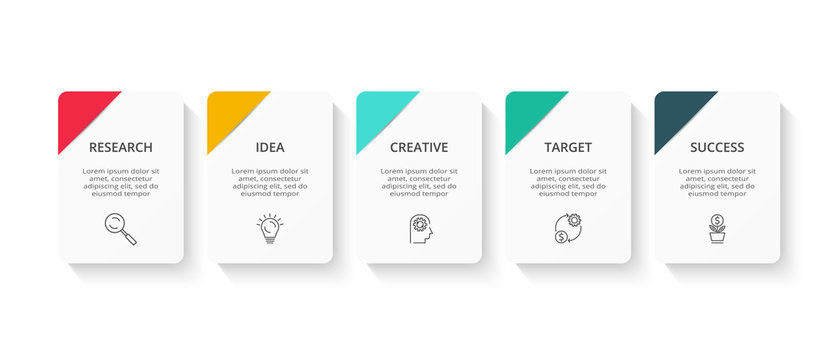 Creative concept for infographic with 5 steps, options, parts or processes. Business data visualization