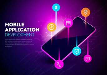 Vector Illustration Mobile App Development. Mobile Smartphone With Layout Of Application