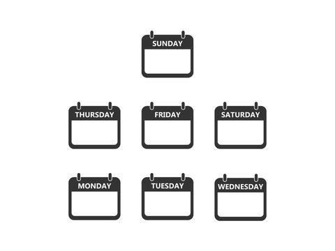 Days of the week icon. Vector illustration, flat design.