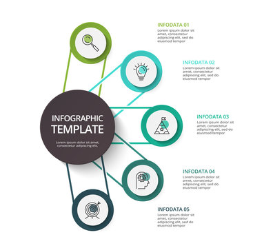 Circle elements of graph, diagram with 5 steps, options, parts or processes. Template for infographic, presentation