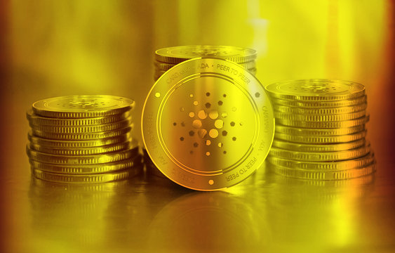 Cardano (ADA) digital crypto currency. Stack of golden coins. Cyber money.