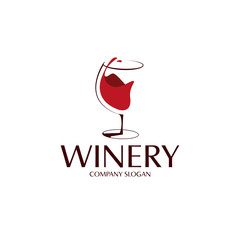 elegant red wine glass logo template