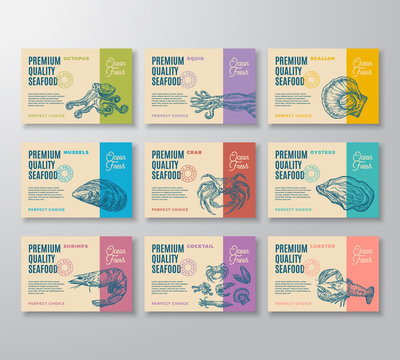 Premium Quality Seafood Labels Collection. Abstract Vector Packaging Design. Modern Typography and Hand Drawn Crab, Shrimp, Molluscs and Squid Sketch Silhouettes Background Layouts with Soft Shadows.