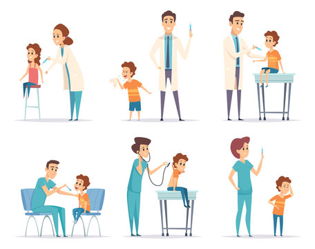 Kids vaccinating. Doctor gives injection to childrens medical healthcare vector concept cartoon illustrations. Injection for healthcare, medical immunization