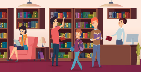 Library background. Bookshelves in school biblioteca students chose a books vector pictures. Illustration of library with bookshelf interior