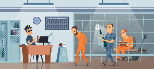 Police department. Male policeman at his work space cabinet and room for prisoners vector picture. Illustration of prison, jailhouse with policeman and jailbird