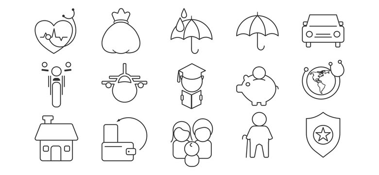 Banking, Insurance line icons set for creative designs.