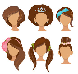 Woman hairstyles. Young girls stylish hair items hoops bows elastic bands clips vector pictures collection. Illustration of hairstyle female, girl fashion