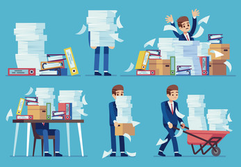 Unorganized office work. Accounting paper documents piles, disarray in files on accountant table. Routine paperwork vector concept