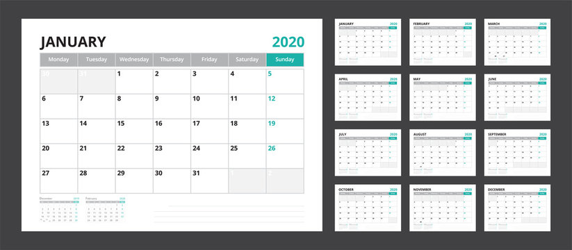 2020 calendar planner set for template corporate design week start on Monday.