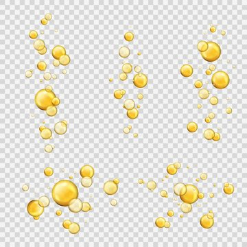 Oil bubbles. Shiny oil drops, cosmetic gold pill capsules collagen serum. Oily vitamin essence droplets. Flying yellow vector balls
