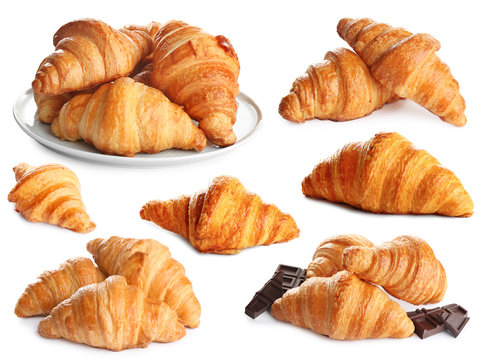 Set of delicious fresh baked croissants on white background. French pastry